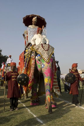 на фестивале слонов в Джайпуре